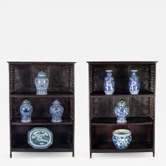 Pair of Asian Bamboo Open Cabinets - 1198969