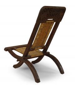 Pair of Asian Burmese Teak Folding Side Chairs - 1419540
