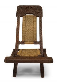 Pair of Asian Burmese Teak Folding Side Chairs - 1419541