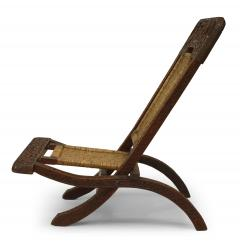 Pair of Asian Burmese Teak Folding Side Chairs - 1419542