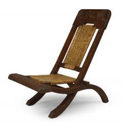 Pair of Asian Burmese Teak Folding Side Chairs - 1419549