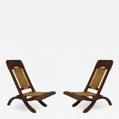 Pair of Asian Burmese Teak Folding Side Chairs - 1421413