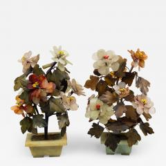 Pair of Assembled Chinese Hardstone Flowers - 1693479