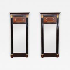 Pair of Baltic Neoclassic Mahogany Ebonized Parcel Gilt Mirrors - 363542