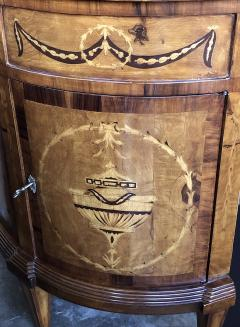 Pair of Baltic Neoclassical Style Marquetry Inlaid Demilune Cabinets - 1431627