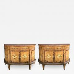 Pair of Baltic Neoclassical Style Marquetry Inlaid Demilune Cabinets - 1431812