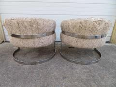 Pair of Barrel Back Chrome Lounge Chairs Mid Century Modern - 1570849