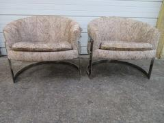 Pair of Barrel Back Chrome Lounge Chairs Mid Century Modern - 1570850