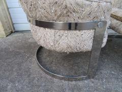Pair of Barrel Back Chrome Lounge Chairs Mid Century Modern - 1570851