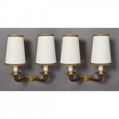Pair of Beautifully Cast Bronze Sconces France 1950s - 1909484