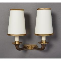 Pair of Beautifully Cast Bronze Sconces France 1950s - 1909487