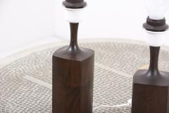 Pair of Beautifully Shaped Wooden Table Lamps Denmark 1960s - 2076946