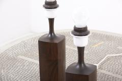 Pair of Beautifully Shaped Wooden Table Lamps Denmark 1960s - 2076949