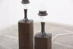 Pair of Beautifully Shaped Wooden Table Lamps Denmark 1960s - 2076950