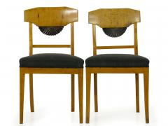 Pair of Biedermeier Style Birch Fan Carved Side Chairs 19th Century - 928882
