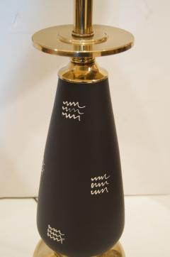 Pair of Black Enameled and Brass Table Lamps - 158021