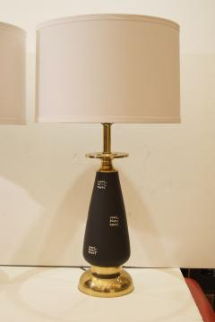 Pair of Black Enameled and Brass Table Lamps - 158022