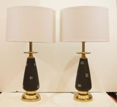 Pair of Black Enameled and Brass Table Lamps - 158023