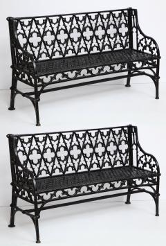 Pair Of Black Gothic Style Cast Iron Benches   1038574