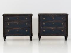 Pair of Black Gustavian Style Chests of Drawers - 1753132