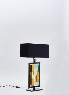 Pair of Black Metal and Colored Glass Bricks Table Lamps - 1110305