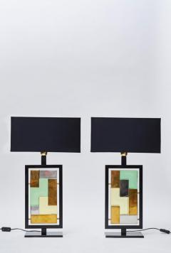 Pair of Black Metal and Colored Glass Bricks Table Lamps - 1110308