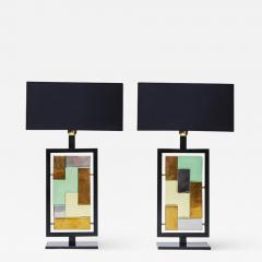 Pair of Black Metal and Colored Glass Bricks Table Lamps - 1110481
