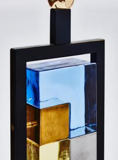 Pair of Black Metal and Colored Glass Bricks Table Lamps - 1110319