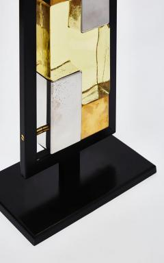 Pair of Black Metal and Colored Glass Bricks Table Lamps - 1110320