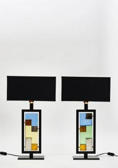 Pair of Black Metal and Colored Glass Bricks Table Lamps - 1110321
