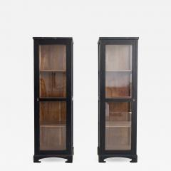 Pair of Black Wooden Vitrine Cabinets - 1257169