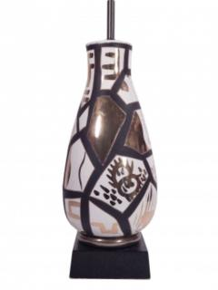 Pair of Black and Gold Ceramic Lamps - 1649427