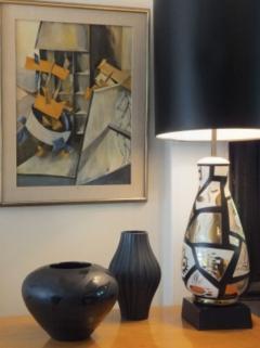 Pair of Black and Gold Ceramic Lamps - 1649429
