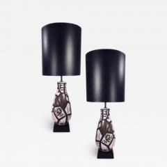 Pair of Black and Gold Ceramic Lamps - 1650087