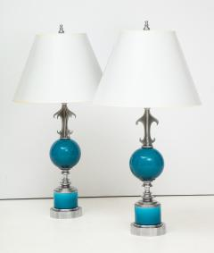 Pair of Blue Ceramic Nickel Plated Metal Lamps - 1155239
