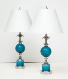 Pair of Blue Ceramic Nickel Plated Metal Lamps - 1155240