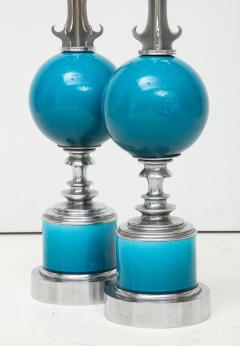 Pair of Blue Ceramic Nickel Plated Metal Lamps - 1155245