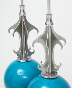 Pair of Blue Ceramic Nickel Plated Metal Lamps - 1155246