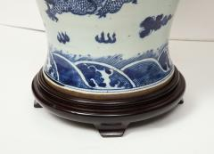 Pair of Blue and White Chinese Export Lamps - 1312642