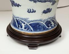 Pair of Blue and White Chinese Export Lamps - 1312643