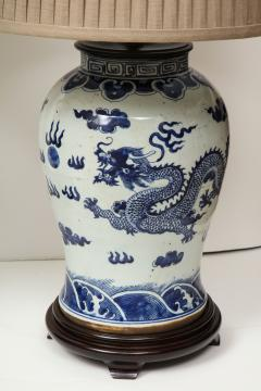 Pair of Blue and White Chinese Export Lamps - 1312644