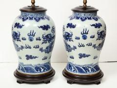 Pair of Blue and White Chinese Export Lamps - 1312649