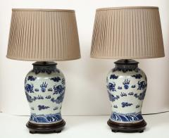 Pair of Blue and White Chinese Export Lamps - 1312651