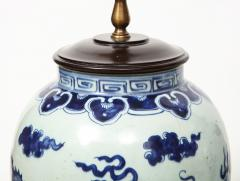 Pair of Blue and White Chinese Export Lamps - 1312652