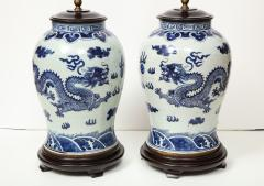 Pair of Blue and White Chinese Export Lamps - 1312653