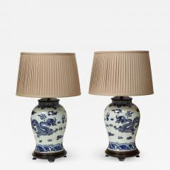Pair of Blue and White Chinese Export Lamps - 1314099