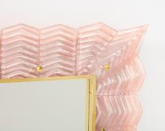 Pair of Blush Pink Textured Murano Glass and Brass Inlay Mirrors Italy - 1614618