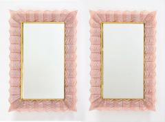 Pair of Blush Pink Textured Murano Glass and Brass Inlay Mirrors Italy - 1614651