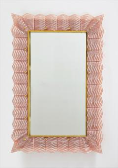 Pair of Blush Pink Textured Murano Glass and Brass Inlay Mirrors Italy - 1614652