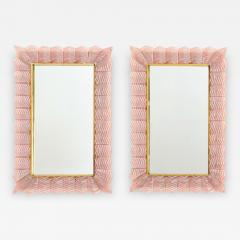 Pair of Blush Pink Textured Murano Glass and Brass Inlay Mirrors Italy - 1618029
